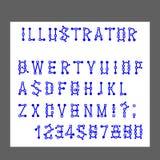 Le vecteur des lettres d'alphabet et des nombres modernes, lignes stylisées simule l'opération de l'éditeur graphique de programm illustration libre de droits