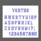 Le vecteur des lettres d'alphabet et des nombres modernes, lignes stylisées simule l'opération de l'éditeur graphique de programm illustration de vecteur