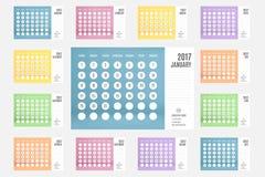 Le vecteur du calendrier 2017 ans, calendrier de 12 mois a placé avec le pastel Photographie stock