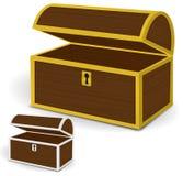 Le vecteur du coffre 3d, le coffre en bois vide avec de l'or et l'argent metal des cadres et des trous de la serrure Illustration Libre de Droits