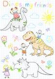 Le vecteur esquisse les enfants et les dinosaures heureux Photo libre de droits