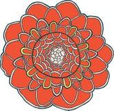 Le vecteur exotique de mandala de fleur a isolé l'élément rouge coloré illustration de vecteur