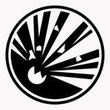 Le vecteur explosif d'explosion de signe de précaution a isolé l'icône d'avertissement de danger Photographie stock
