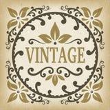 Le vecteur fleuri de cadre de label de vintage avec des feuilles et les rouleaux forment Photographie stock
