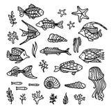 Le vecteur gribouille les icônes sous-marines réglées Photos libres de droits
