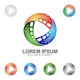 Le vecteur Logo Design de media avec le concept de trois éléments a représenté le media, la photographie, le film, une vidéo et u illustration stock
