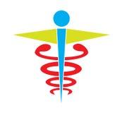 Le vecteur médical d'icône de symbole de caducée coloré a isolé le fond blanc Images libres de droits