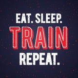 Le vecteur mangent la répétition de train de sommeil Cotation de sauvetage de motivation et inspirée avec la conception grunge d' illustration de vecteur