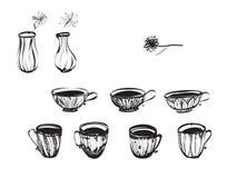 Le vecteur met en forme de tasse la collection et les fleurs dans des vases Photos libres de droits