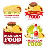 Le vecteur mexicain de restaurant de nourriture badges, des labels, des logos et des emblèmes illustration stock