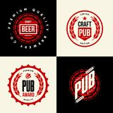 Le vecteur moderne de boissons de bière de métier a isolé le signe de logo pour la barre, le bar, la brasserie ou la brasserie Photos libres de droits