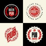 Le vecteur moderne de boissons de bière de métier a isolé le signe de logo pour la barre, le bar, la brasserie ou la brasserie Photo libre de droits