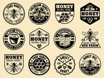 Le vecteur monochrome de miel badges, des emblèmes, labels illustration stock