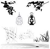 Le vecteur objecte des silhouettes des branches d'arbre, lanternes illustration libre de droits