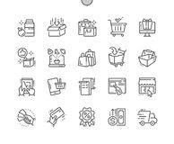 Le vecteur parfait Bien-ouvré de achat de pixel rayent légèrement la grille 2x des icônes 30 pour des graphiques et Apps de Web Image libre de droits