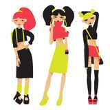 Le vecteur a placé avec de belles filles de mode de rue dans des vêtements lumineux d'été dans les couleurs au néon Chaussures de Photographie stock