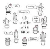 Le vecteur a placé avec de divers cactus tirés par la main d'ensemble dans des pots de fleurs Photo libre de droits