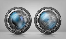Le vecteur a placé avec des objectifs de caméra, objectifs de bourdonnement illustration stock