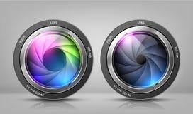 Le vecteur a placé avec des objectifs de caméra, objectifs de bourdonnement illustration libre de droits