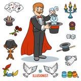 Le vecteur a placé avec le magicien et les objets pour tours de magie illustration de vecteur