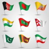 Le vecteur a placé des pays de drapeaux de l'Asie du sud sur le poteau argenté - icône des états Afghanistan, Bangladesh, Bhutan, illustration libre de droits