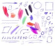 Le vecteur a placé du stylo coloré et crayonner les dessins gribouillants d'isolement, illustration tirée par la main illustration stock