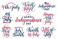 Le vecteur a placé le quatrième des inscriptions de lettrage de main de juillet pour les cartes de voeux etc. Calligraphie heureu illustration stock