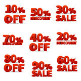 Le vecteur promotionnel de magasin discount signe avec des pour cent des prix outre des actions Illustration Stock