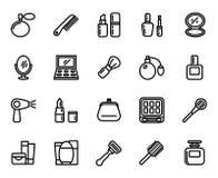 Le vecteur réglé de cosmétique raye des icônes Images libres de droits