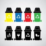 Le vecteur réutilisent des poubelles Images stock