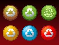 Le vecteur réutilisent des symboles de graphismes de boutons Photographie stock libre de droits