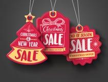 Le vecteur rouge d'étiquettes de papier de vente de Noël a placé avec différentes formes et éléments tirés par la main illustration de vecteur