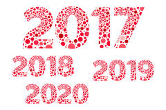 le vecteur rouge et rose de 2017 2018 2019 2020 bonnes années de bulles a isolé le symbole Photos stock