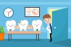Le vecteur sain de bouche badine le concept Dents dans la salle d'attente de dentiste Photographie stock libre de droits