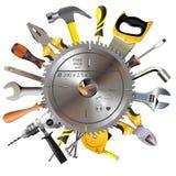 Le vecteur scie la lame avec des outils illustration de vecteur
