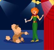 Le vektorillustrationen för clown och för liten hund vektor illustrationer
