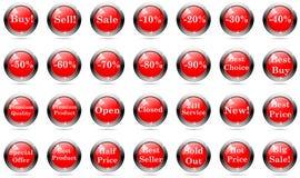 Bottoni di vendite messi Fotografia Stock Libera da Diritti