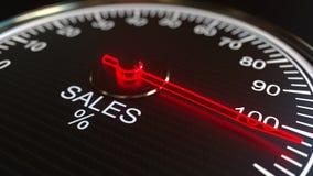 Le vendite misurano o indicatore, rappresentazione 3D Immagini Stock Libere da Diritti