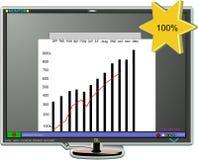Le vendite rappresentano graficamente sul video Fotografia Stock