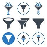 Le vendite versano le icone con un imbuto piane di vettore illustrazione vettoriale