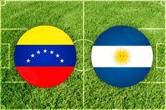 Le Venezuela contre le match de football de l'Argentine images stock