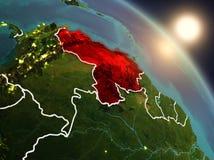 Le Venezuela de l'espace pendant le lever de soleil Photos libres de droits