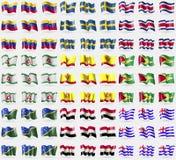Le Venezuela, Suède, Costa Rica, l'Ingouchie, Tchouvachie, Guyane, Solomon Islands, Egypte, Ajaria Grand ensemble de 81 drapeaux Image stock