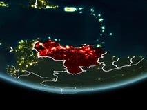 Le Venezuela sur terre de l'espace la nuit Image libre de droits