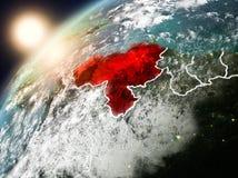 Le Venezuela sur terre de planète dans le coucher du soleil Photo libre de droits