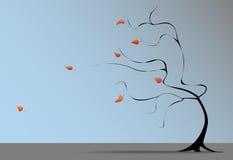 Le vent d'arbre d'automne souffle des lames d'automne Photo libre de droits