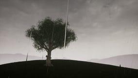 Le vent d'ouragan souffle par l'arbre illustration stock