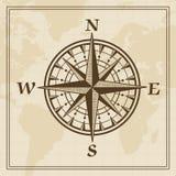 Le vent de vecteur s'est levé sur un fond de carte du monde Image libre de droits
