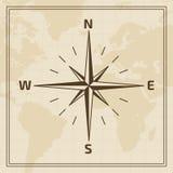 Le vent de vecteur s'est levé sur un fond de carte du monde Images libres de droits