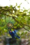Le vent est développé par le dreamcatcher bleu suspendu sur un arbre Image stock